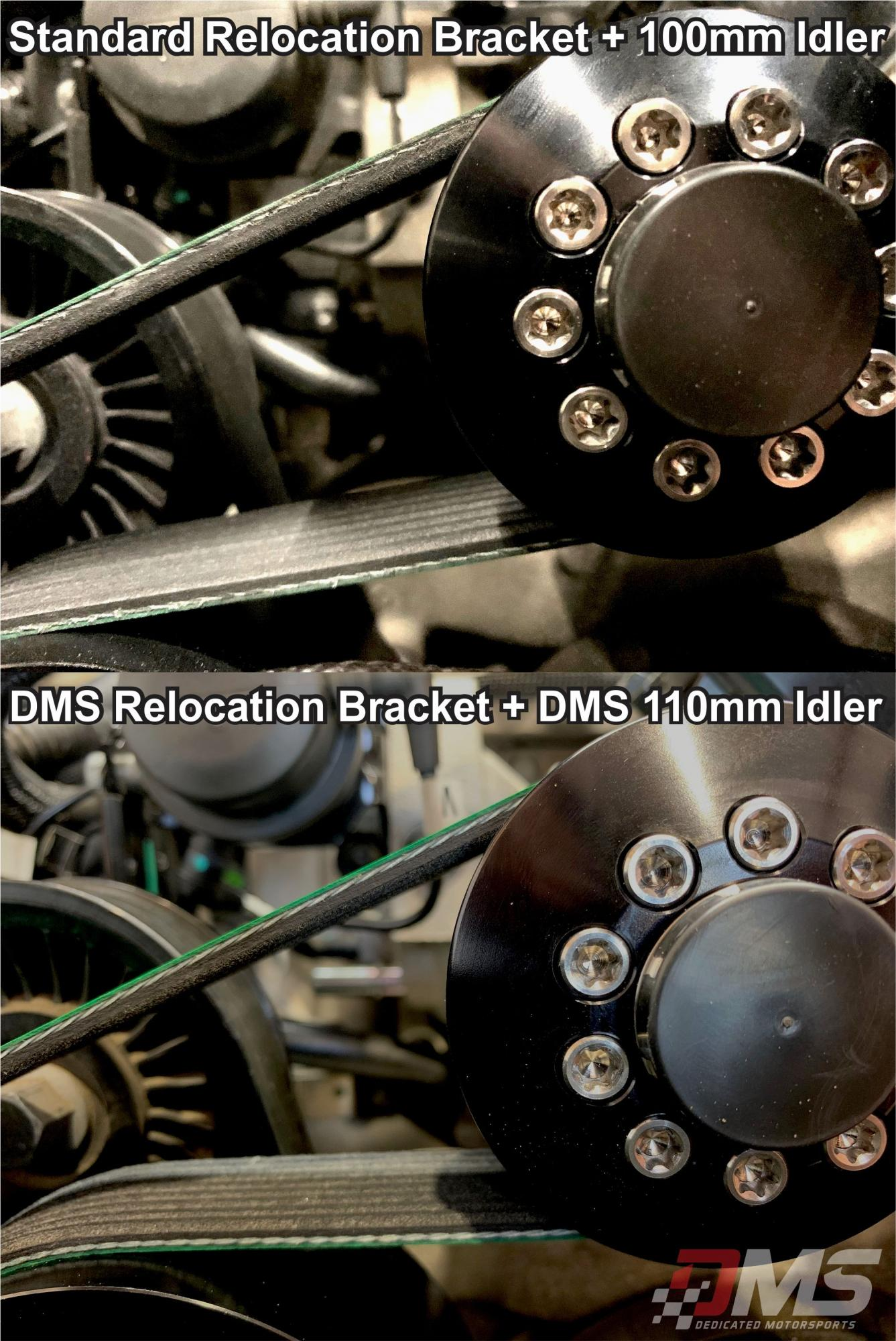 New +5mm Idler relocation bracket and 110mm idler pulley for max belt wrap. Now in stock at DMS-idler-comparison.jpg